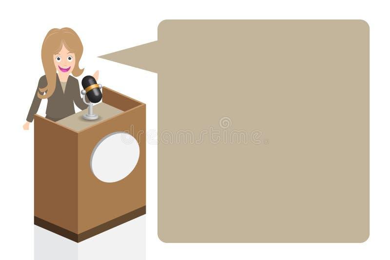 Biznesowej kobiety mówienie na scenie z mikrofonem i podium, ilustracja, ilustracji