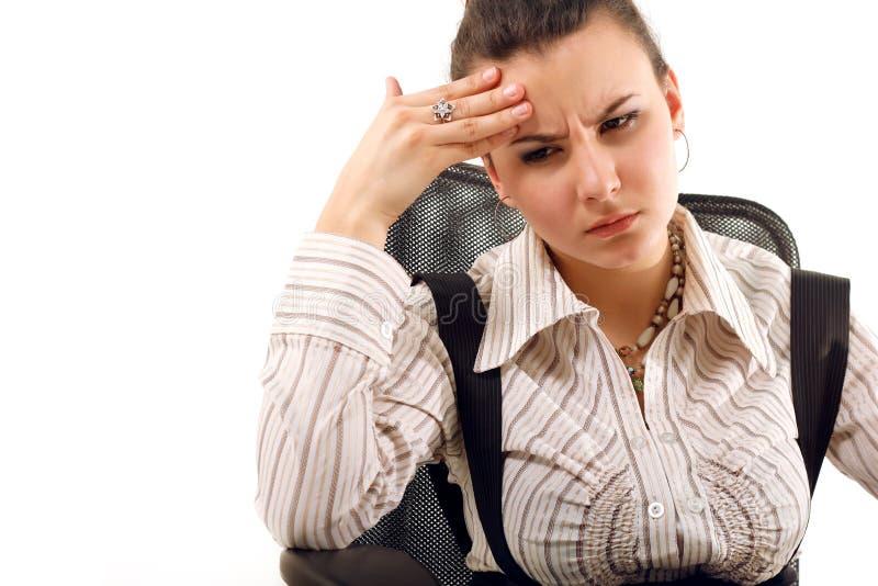 Biznesowej kobiety męczący deprymujący odosobniony na bielu obraz stock