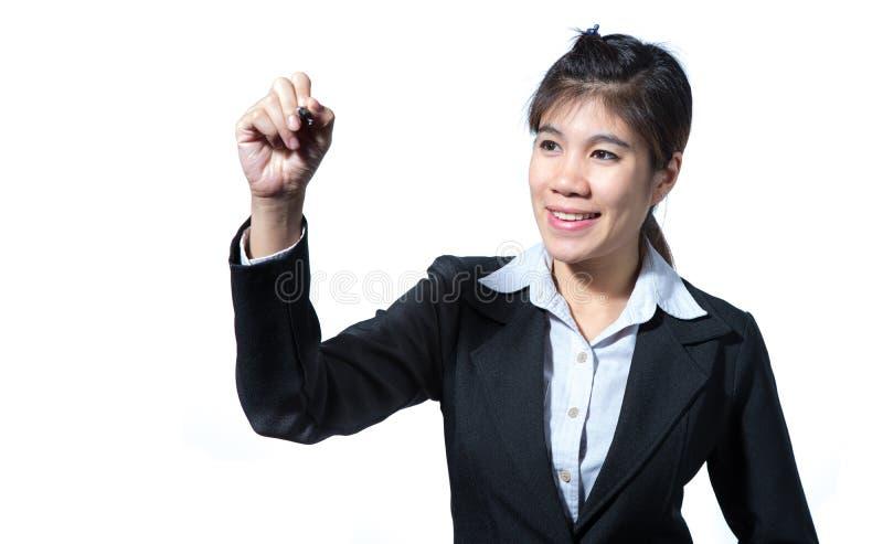 Biznesowej kobiety mienia komputerowa pastylka, biznesowy poj?cia writing z przestrzeni? dla projekta zdjęcia stock