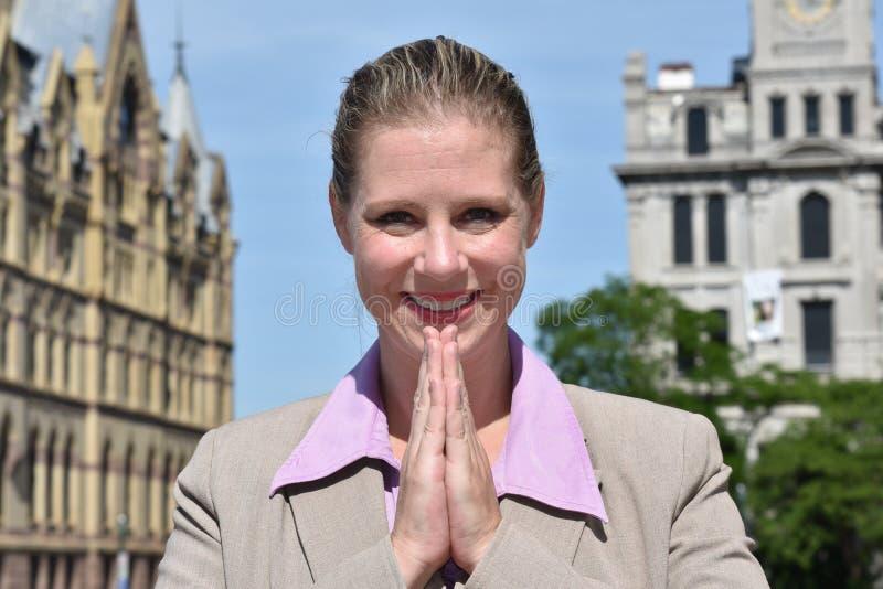 Biznesowej kobiety modlenie fotografia royalty free