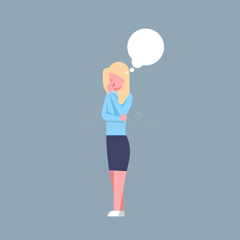 Biznesowej kobiety Myślący Żeński urzędnik Rozpamiętywa bizneswomanu Korporacyjny Odosobnionego ilustracji