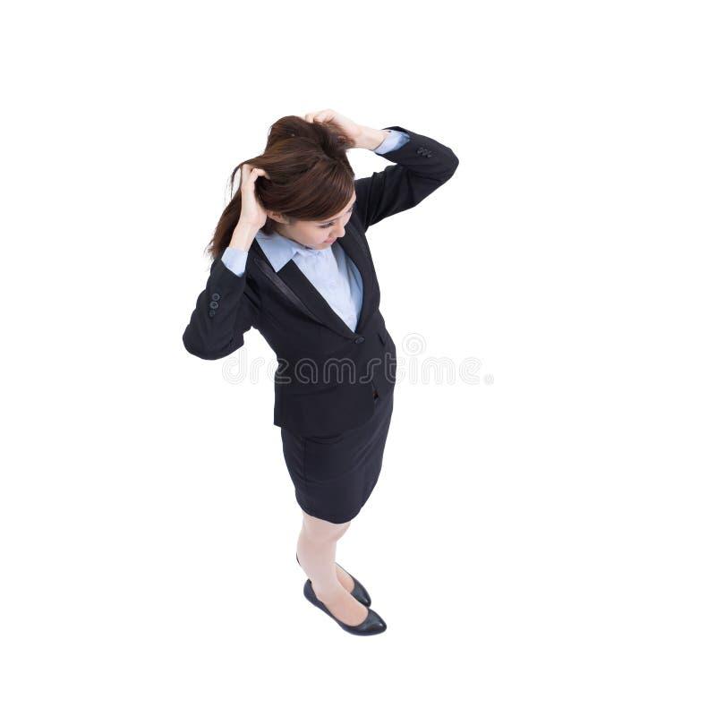 Biznesowej kobiety myśl i spojrzenie fotografia stock
