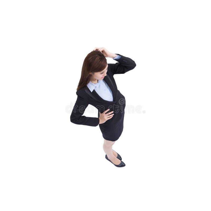 Biznesowej kobiety myśl i spojrzenie zdjęcie royalty free