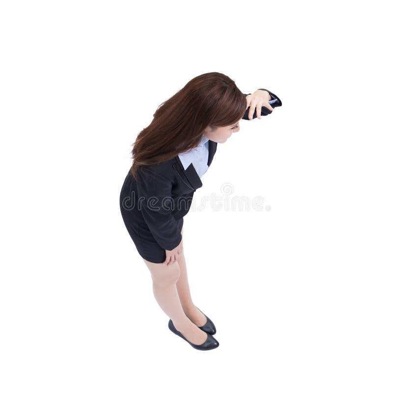 Biznesowej kobiety myśl i spojrzenie zdjęcia royalty free