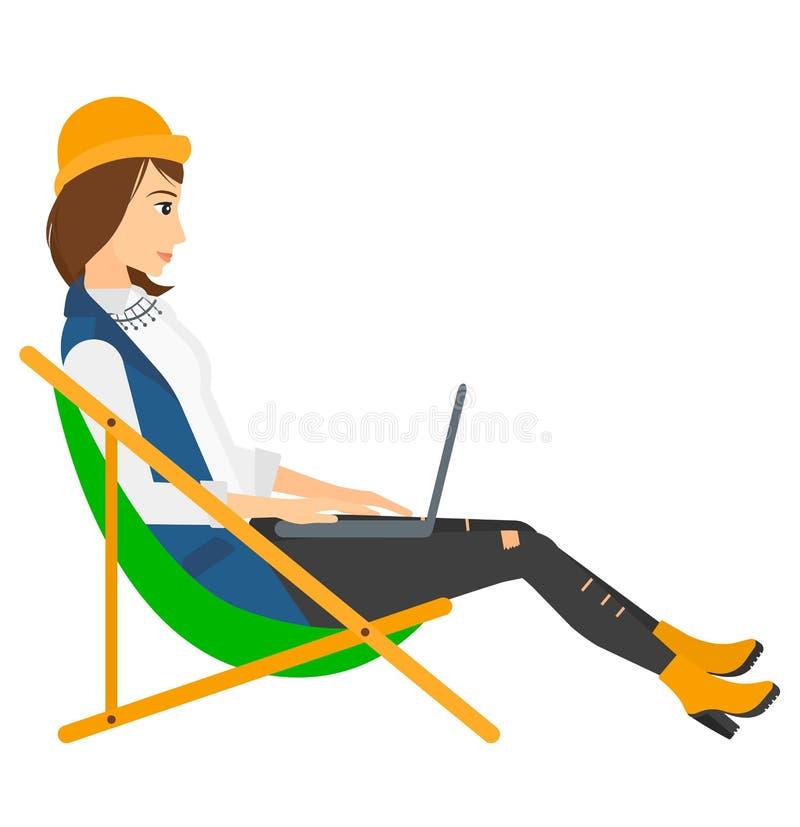 Biznesowej kobiety obsiadanie w bryczka holu z ilustracji