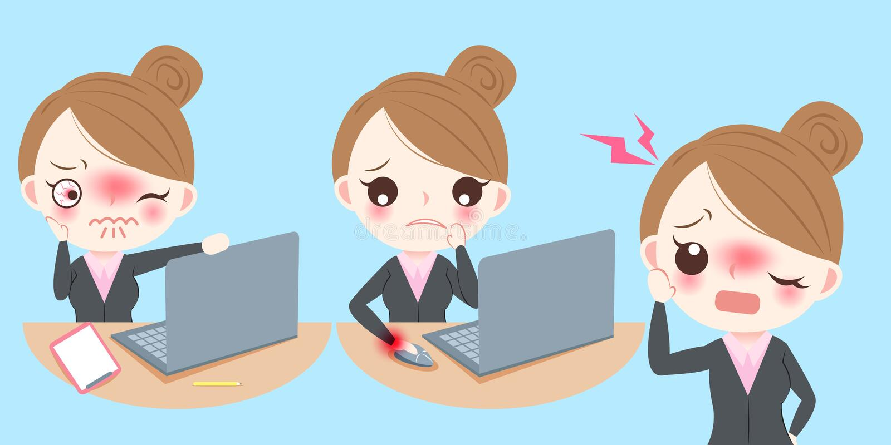 Biznesowej kobiety odczucia ból ilustracji
