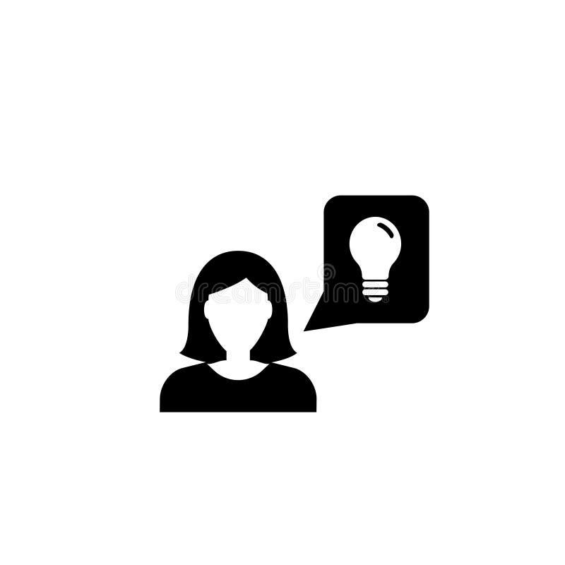 Biznesowej kobiety pomysłu Płaska Wektorowa ikona ilustracji