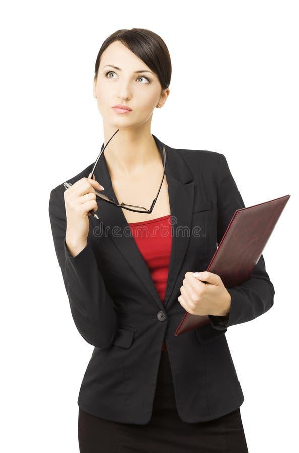 Biznesowej kobiety portret, odosobniony biały tło, myśleć obraz stock