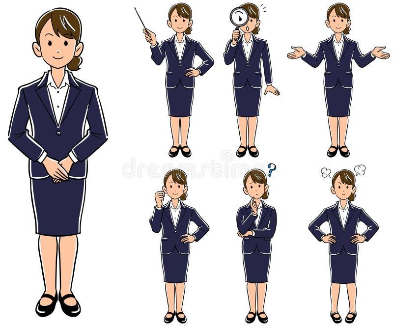 Biznesowej kobiety pozy 7 rodzajów nowy zatrudnieniowy akcydensowy polowanie ilustracji