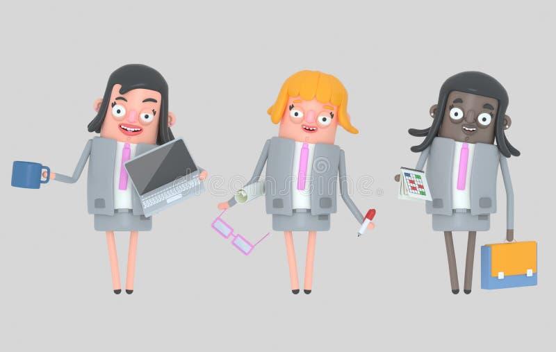 Biznesowej kobiety pracy zespołowej pozycja odosobniony ilustracja wektor