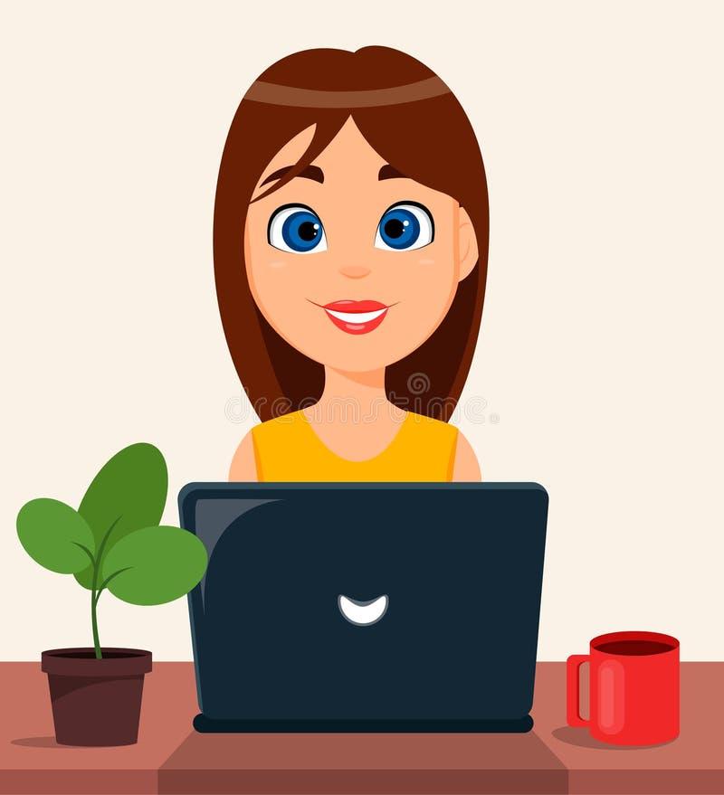 Biznesowej kobiety przedsiębiorca pracuje na laptopie przy jej biurowym biurkiem royalty ilustracja