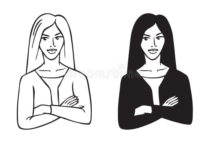 Biznesowej kobiety rysunek royalty ilustracja