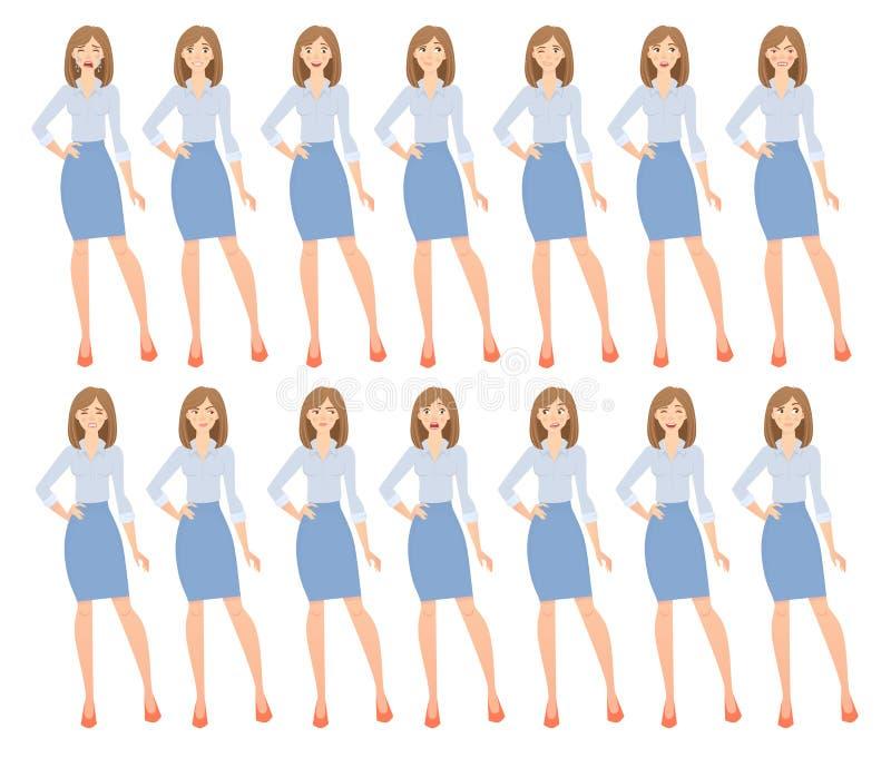 Biznesowej kobiety set ilustracji