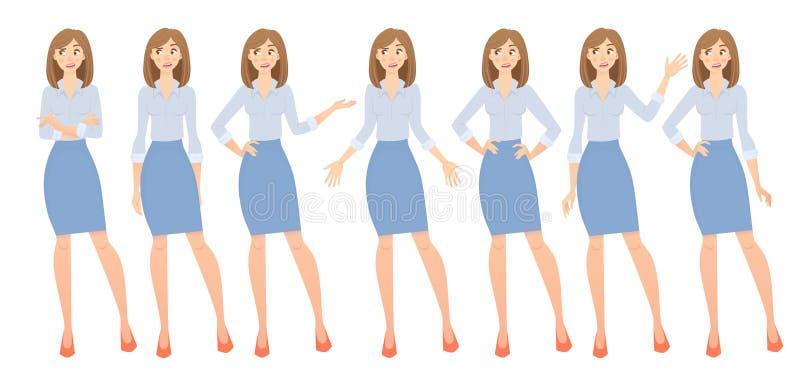 Biznesowej kobiety set ilustracja wektor