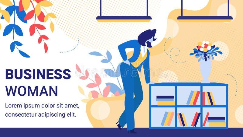 Biznesowej kobiety szefa charakter w Biurowym sztandarze ilustracja wektor
