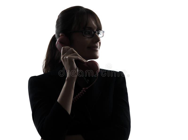 Biznesowej kobiety telefonu sylwetka fotografia royalty free