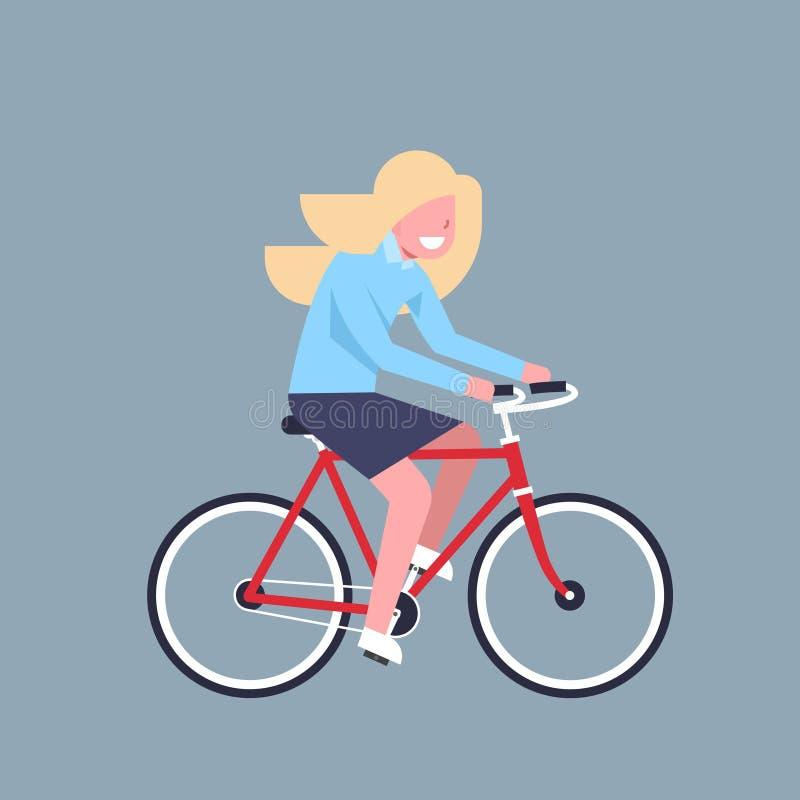 Biznesowej kobiety urzędnika Jeździecki Rowerowy bizneswoman Odizolowywający ilustracji