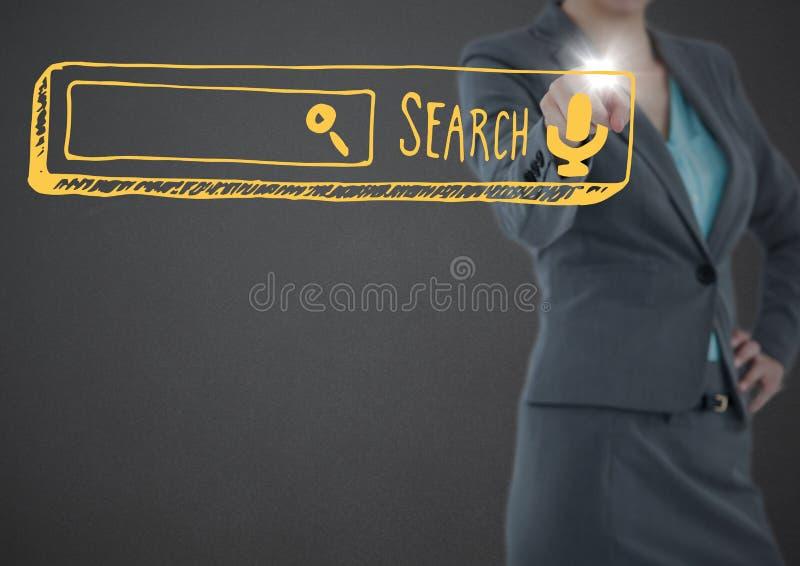 Biznesowej kobiety w połowie sekcja wskazuje przy żółtym rewizja barem z racą przeciw popielatemu tłu obraz stock