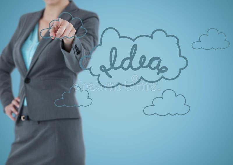 Biznesowej kobiety w połowie sekcja wskazuje przy błękitną pomysł grafiką przeciw błękitnemu tłu zdjęcie royalty free