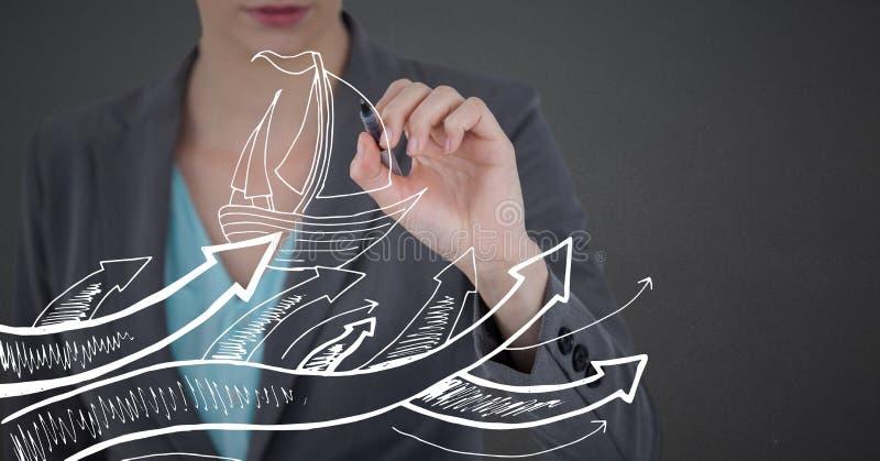 Biznesowej kobiety w połowie sekcja z piórem i biały łódkowaty doodle przeciw popielatemu tłu obraz royalty free