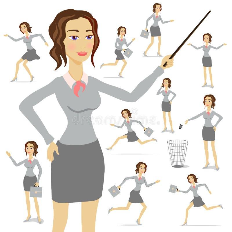 Biznesowej kobiety wektor, biznes, ilustracja, kostium, dorosły, kobieta, osoba, royalty ilustracja
