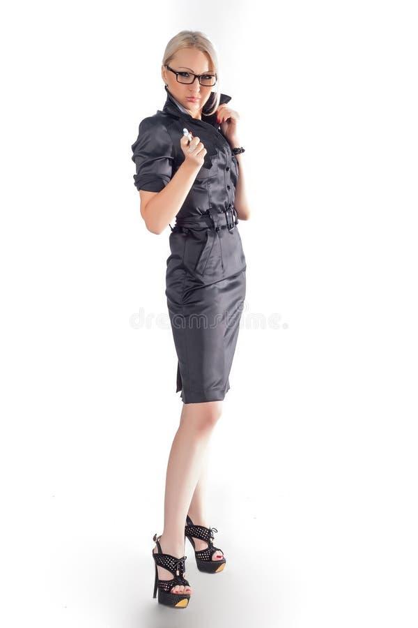 Biznesowej kobiety whith pióro zdjęcie stock