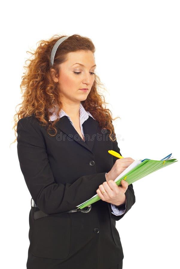 biznesowej kobiety writing zdjęcia royalty free