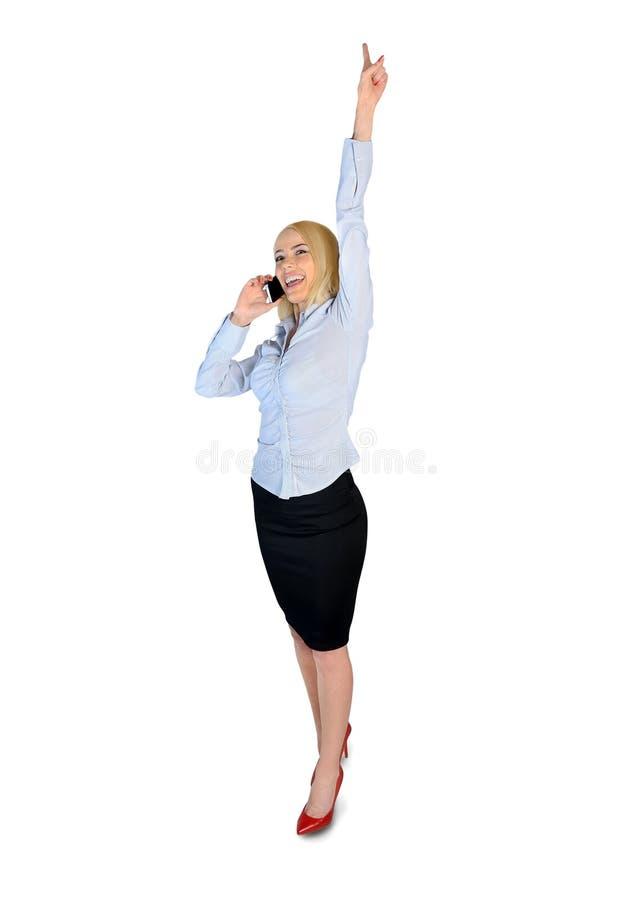 Biznesowej kobiety zwycięzcy rozmowy telefon zdjęcia stock