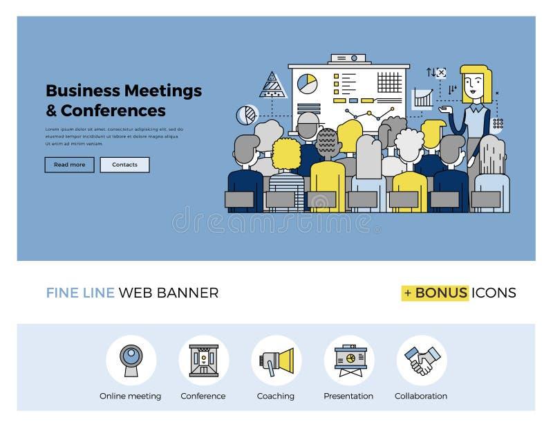 Biznesowej konferenci mieszkania linii sztandar ilustracji