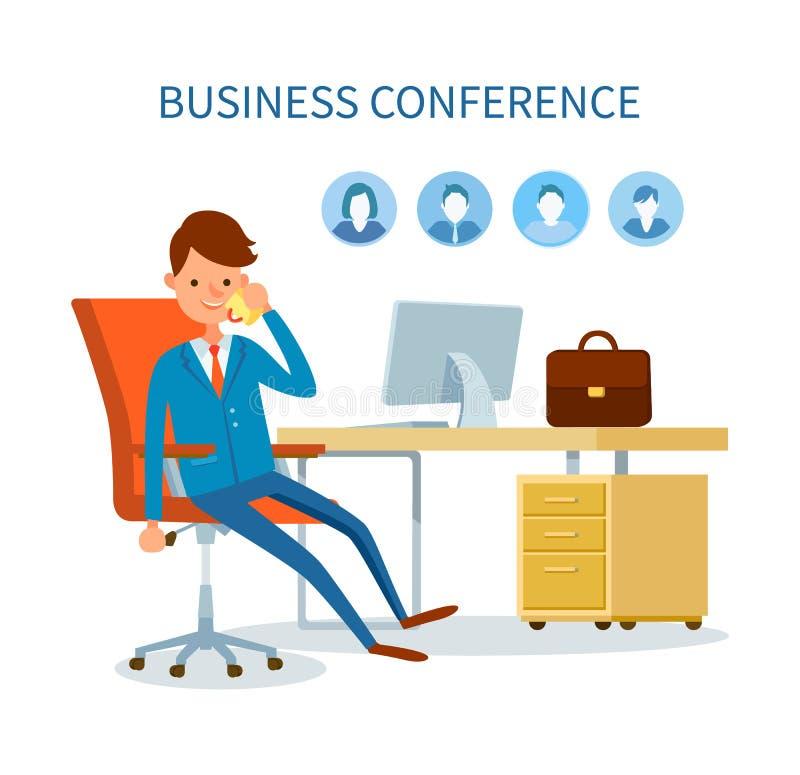 Biznesowej konferencji mężczyzna Opowiada na telefon ikonach royalty ilustracja