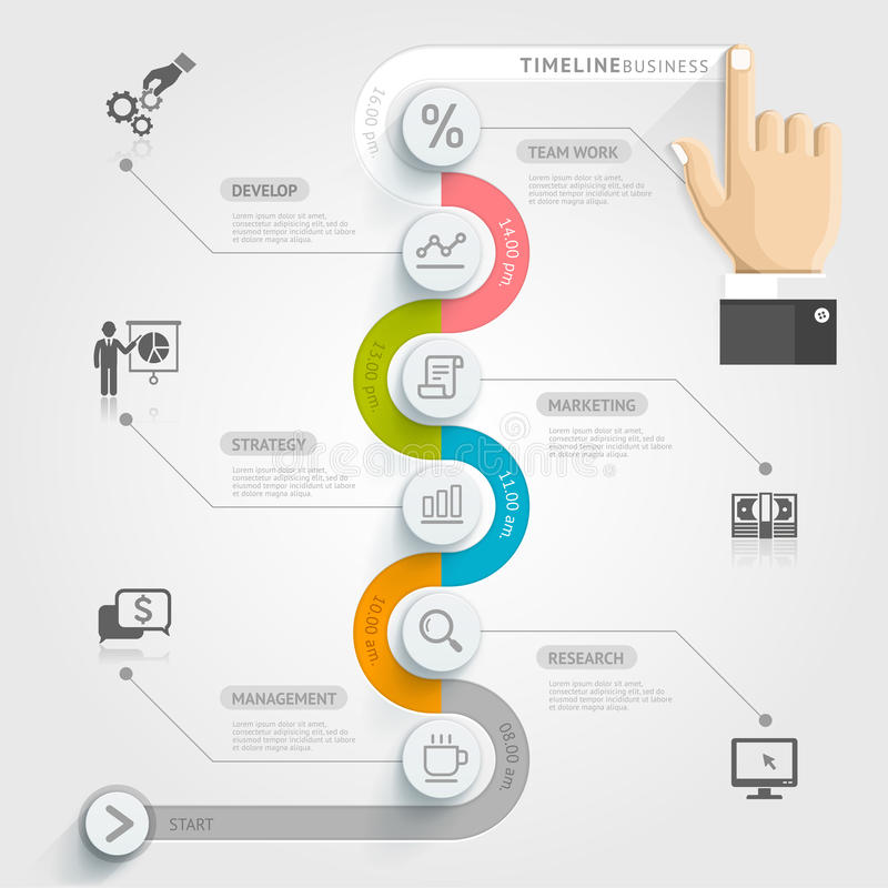 Biznesowej linii czasu infographic szablon royalty ilustracja