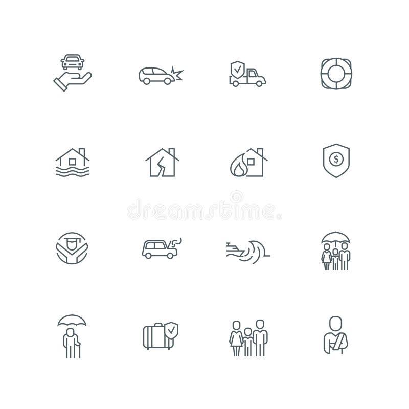 Biznesowej linii ikony set royalty ilustracja