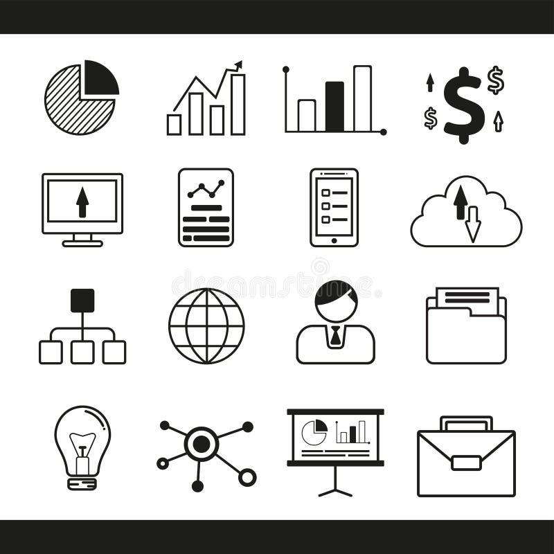 Biznesowej linii ikony set, wektorowa ilustracja ilustracja wektor