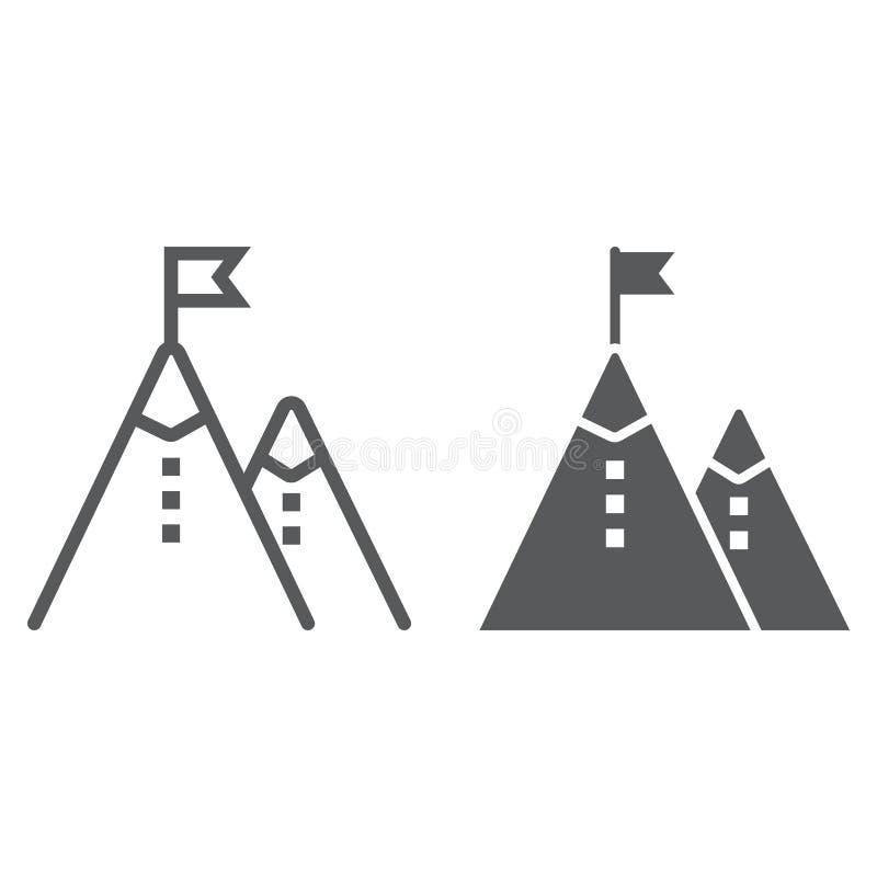 Biznesowej misi linia i glif ikona, rozwój ilustracja wektor