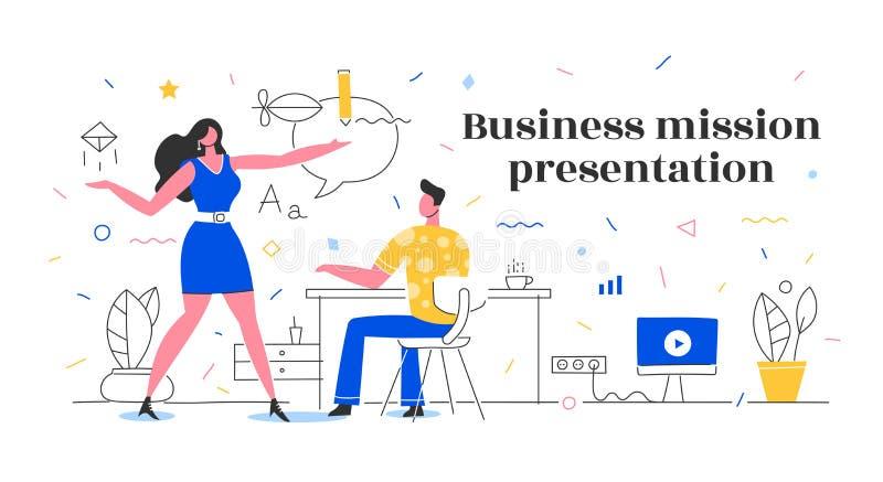 Biznesowej misji prezentacji pojęcie ilustracja wektor