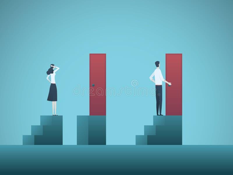 Biznesowej nierówności wektorowy pojęcie z biznesmenem i bizneswoman postacią na krokach Symbol dyskryminacja, rodzaj ilustracji