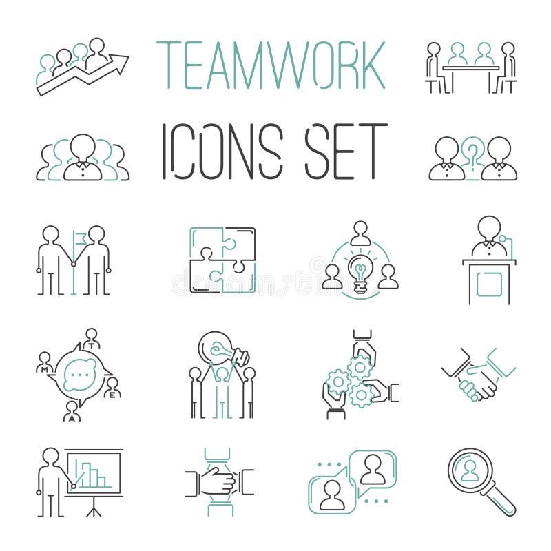 Biznesowej pracy zespołowej konturu teambuilding ikony