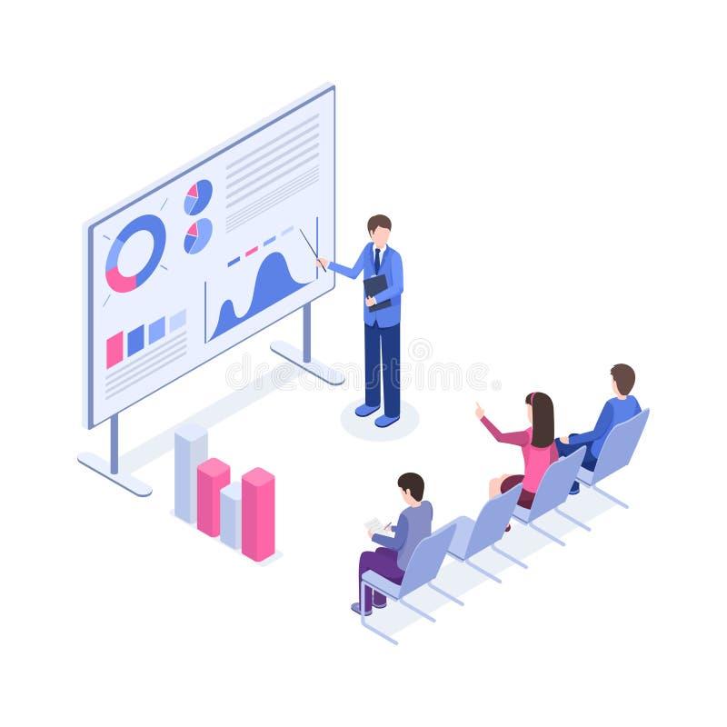 Biznesowej prezentacji koloru isometric ilustracja Targowy analityk, szef, urzędników 3d postacie z kreskówki royalty ilustracja