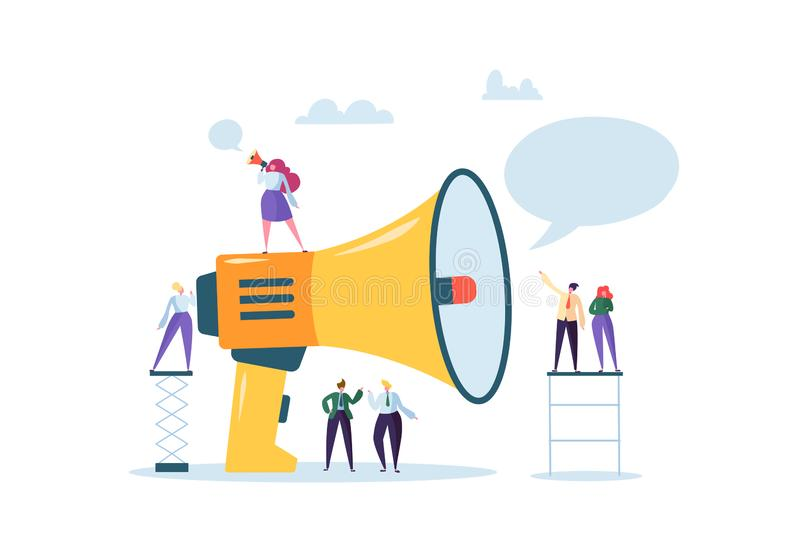 Biznesowej reklamy promocja Głośnik Opowiada tłum Duży megafon i Płascy ludzie charakter reklamy ilustracji