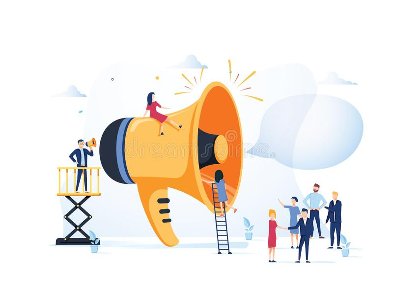 Biznesowej reklamy promocja Głośnik Opowiada tłum Duży megafon i Płascy ludzie charakter reklamy royalty ilustracja