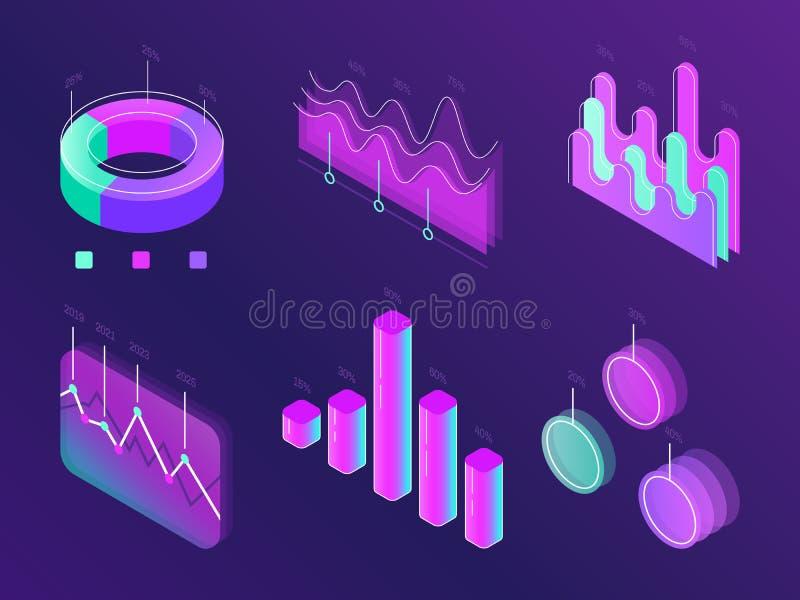 Biznesowej statystyki cyfrowe infographic mapy Nowożytny isometric ewidencyjny wykres Doskonałość procentu szpaltowy panel dla st royalty ilustracja