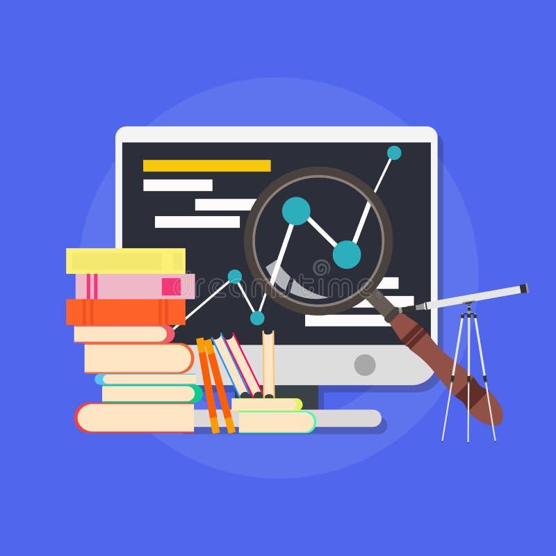 Biznesowej szkoły wyższa ilustracyjnej edukaci biblioteczny kursowy online Uczący ludzie podpisują pojęcie odizolowywającego biel royalty ilustracja