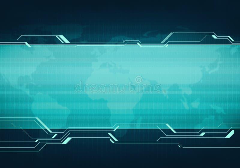 Biznesowej technologii interfejsu użytkownika błękitny wirtualny sztandar royalty ilustracja