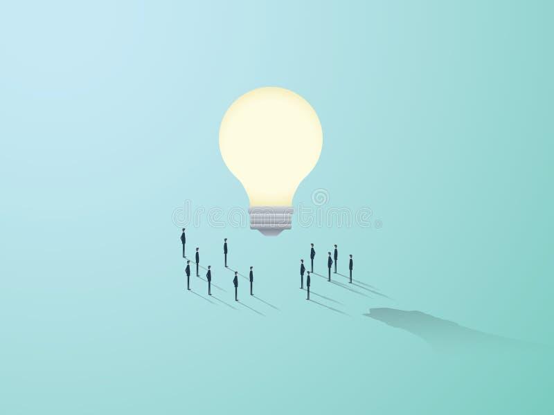 Biznesowej twórczości wektorowy pojęcie z dużą żarówką i ludźmi stoi wokoło Pracy zespołowej brainstorming symbol ilustracji
