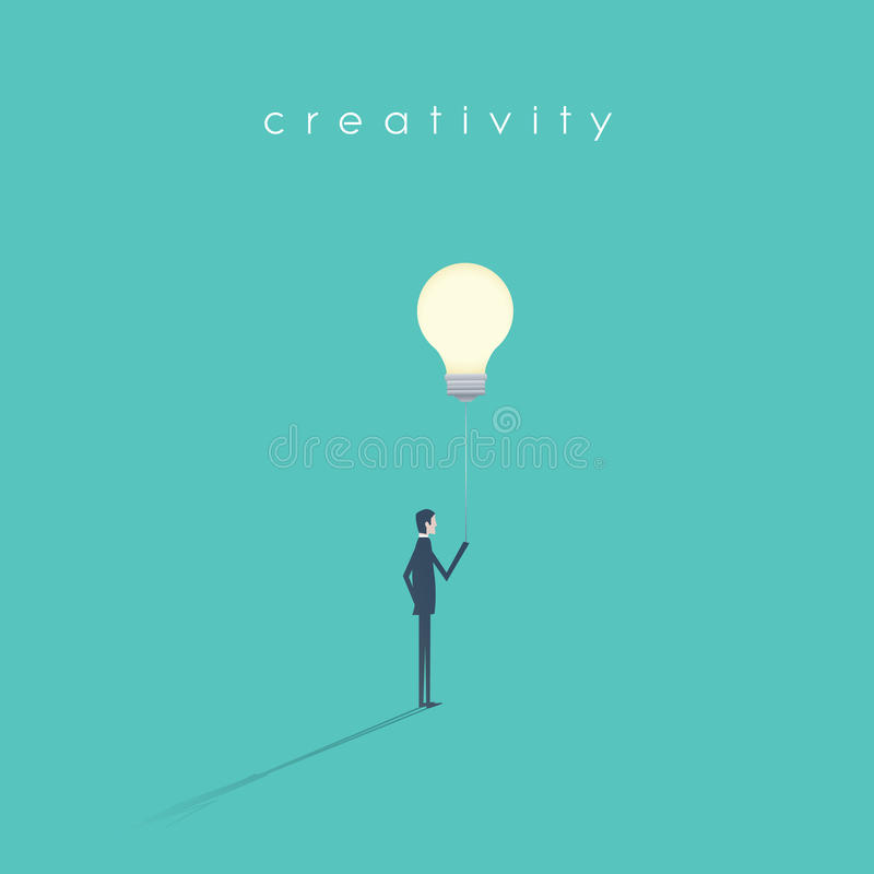 Biznesowej twórczości wektorowy symbol z biznesmena mienia lightbulb na sznurku jak balon ilustracji