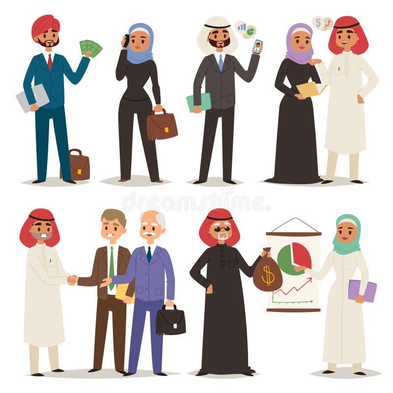 Biznesowi arabscy ludzie pracy zespołowej wektorowego ilustracyjnego postać z kreskówki kierownika biura arabskiego spotkania royalty ilustracja