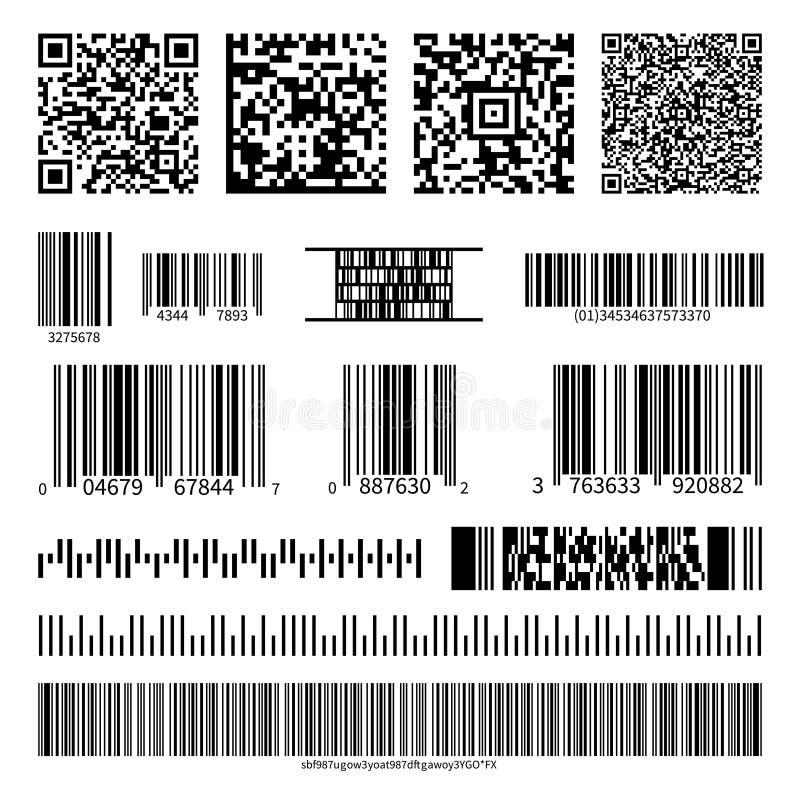 Biznesowi barcodes i QR kody wektoru set ilustracji