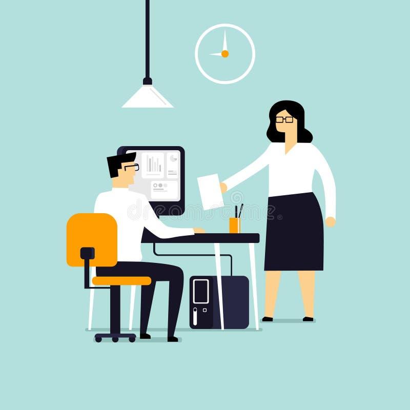 Biznesowi charaktery Pracowników spotykać royalty ilustracja