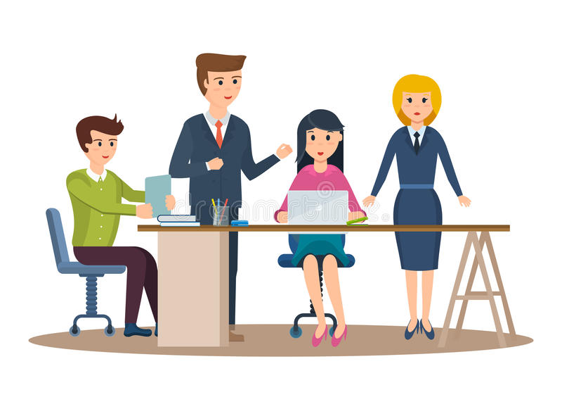 Biznesowi charaktery pracuje w biurze, biznesowego mężczyzna przedsiębiorca z kolegami ilustracji