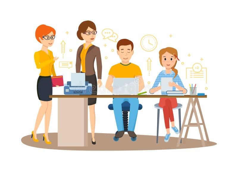Biznesowi charaktery pracuje w biurze, biznesowej kobiety przedsiębiorca z kolegami ilustracja wektor